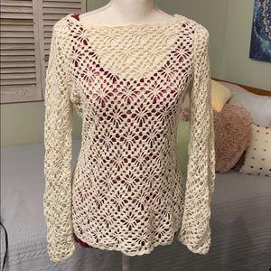 Ann Taylor Off white crochet sweater boat neck